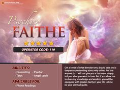 A #giftedpsychic & #spiritualreader, #Psychic Faithe can provide insight on your lover's heart. Give her a call today!