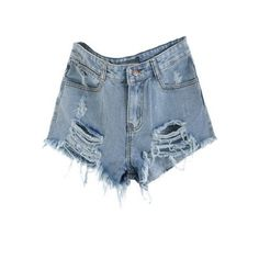 SheIn(sheinside) Blue Mid Waist Ripped Denim Short (€12) ❤ liked on Polyvore