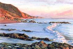 EVENING GOLD, seascape watercolor by Thomas A Needham