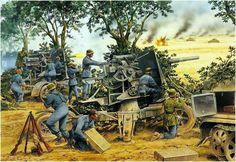 Cañones 88 mm alemanes en acción