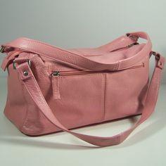 Hobo International Shoulder Bag Satchel Pink Pebbled Leather Silver Feet Handbag #HoboInternational #ShoulderBag