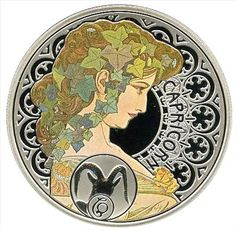 Capricorn silver coin, with the art of Alfons Mucha