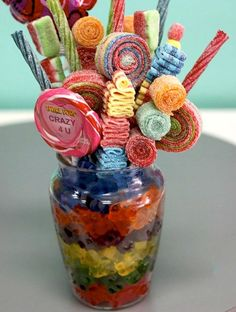 Candy Bouquet or  Sucker bouquet - use skittles or M to keep suckers in place - clear container.
