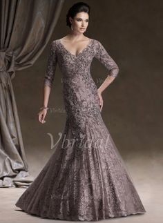 Mother of the Bride Dresses - $423.66 - Trumpet/Mermaid V-neck Floor-Length Satin Tulle Lace Mother of the Bride Dress With Beading (00805008374)