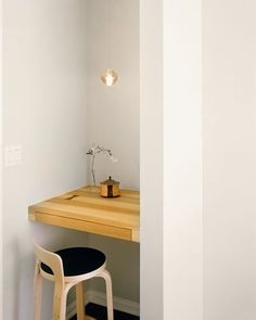 A tiny workspace slotted into a small niche, in a project by Alexandra Loew of From the Desk of Lola, a member of the Remodelista Architect/Designer Directory. | Tiny Homes