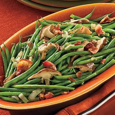 Green Beans With Mushrooms and Bacon - can use tempeh bacon