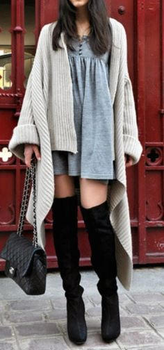 Thigh-high boots + sweater dresses.