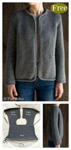 Classic Jacket Free Knitting Pattern – Crochet and Knitting Patterns Crochet Pattern Free, Knitting Patterns Free, Knit Patterns, Knitting Ideas, Crochet Ideas, Japanese Crochet Patterns, Stitch Patterns, Knitting Tutorials, Afghan Patterns