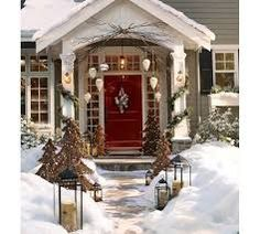 outside christmas decorations birch wood - Google Search