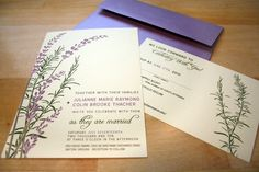 SAMPLE Lavender Wedding Invitation with Rosemary by vohandmade