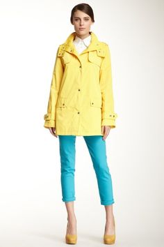 {Single Breasted Trench Coat in Electric Yellow} Calvin Klein - so much happy colour!