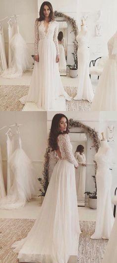 Sexy Chiffon Long Sleeve Wedding Dress,Lace V-neck Sweep Train Bridal Gown