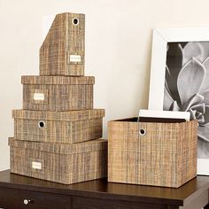 Storage - this just gave me a really cool idea of covering items/boxes, etc in burlap fabric.  Love the texture and such a neutral color that it will match with anywhere you put them