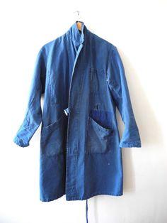 Vintage French circa 1930s workwear indigo duster