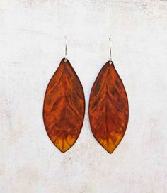 Autumn Leaves Etched Copper Earrings Fall Woodland by LaFreeBoheme, $32.00