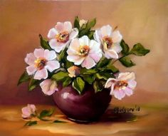 Acrylic Painting Flowers, Watercolor Flowers, Beautiful Flower Arrangements, Beautiful Flowers, Flower Vases, Flower Art, Penguin Art, Painting Still Life, Art Pictures