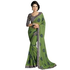 Buy Go Desi Green Chiffon Saree by Go Desi, on Paytm, Price: Rs.799?utm_medium=pintrest