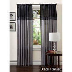 @Overstock - This modern Geometrica curtain panel pair features a beautiful color block pattern in black and silver, blue and chocolate, or merlot and chocolate. Designed by Lush Decor, these faux silk curtains are lined and slip onto a curtain rod with a top loop.http://www.overstock.com/Home-Garden/Lush-Decor-84-inch-Geometrica-Curtain-Panel-Pair/5482578/product.html?CID=214117 $38.49