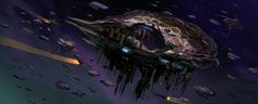 Space Pirate Asteroid Base by MeckanicalMind on deviantART