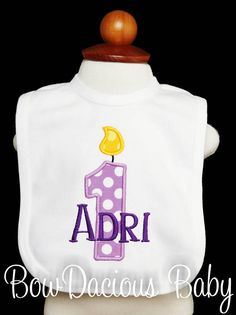 Rainbow First Birthday, Girl Birthday, White Shirts, Birthday Shirts, Custom Fabric, First Birthdays, Monogram, Baby Girls, Candles