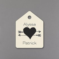 Add the finishing touch to invitations, favors and more with ecru heart and arrow design favor tags printed in ink or foil.  Carlson Craft