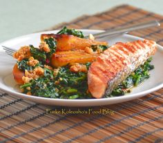 Funke Koleosho's Food Blog: For My Love of Plantains Contd.... Plantains Spinach & Prawns. Inspired Ibiso & Rasheed's dinner (A Scoop Of Love)