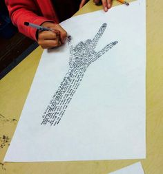 Hands in sharpie. Favorite songs, poems, stories or student's lives.