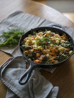 sweet potato skillet with gnocchi + goat cheese.