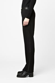 Leather panel trousers