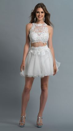 #Wishesbridal Two Piece Short White Tulle A Line Prom Graduation Dress Cwb0182
