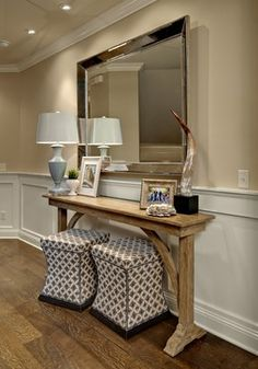 entryway - like the narrow console table Restauration Hardware, Narrow Console Table, Wooden Console, Table Mirror, Narrow Entryway Table, Console Mirror, Skinny Console Table, Entry Mirror, Hall Mirrors