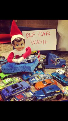 Elf on the Shelf. Elf car wash.