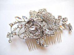 Exquisite bridal swarovski crystal rose wedding by IngenueB, $65.00