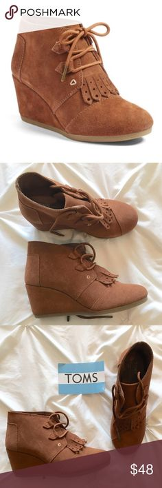 Toms Kiltie Leather Fringe Wedge Boot Gorgeous 2.5 inch wedge booties by Toms, this is the Kiltie style and features a fringe on the front. Brand new without box TOMS Shoes Ankle Boots & Booties