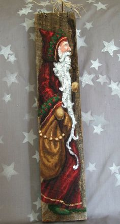 Tall Victorian Santa authentic barnwood hand by SuzysSantas