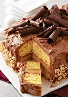 Stunning Peanut Butter-Chocolate Layer Cake – A creamy peanut butter filling is sandwiched between layers of cake and frosted with chocolate-cream cheese icing. Stunning? We'll say!