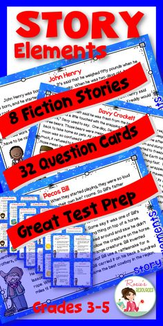 This Story Elements packet includes includes eight high-interest fiction stories, with 4 question cards per story, for a total of 32 question cards. The questions cover setting, characters, plot, conflict and resolution. This story elements packet is perfect for direct instruction, RtI, small group instruction, learning stations or test prep. The stories are re-tellings of Aesop's fables and American tall tales.
