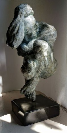 #Bronze #sculpture by #sculptor Marc Bodie titled: 'Cloud (Small Bronze Contemporary Crouching Man statue)'. #MarcBodie