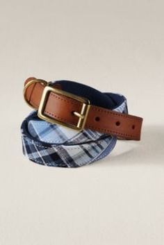 Patterned cloth belts are great for spring and summer, but some of them tend to slip.  Surcingle belts like this one solve that problem (and look a touch more formal) by using a leather tail and metal buckle.  Men's Novelty Overlay Surcingle Belt  from Lands' End Canvas #landsendcanvas