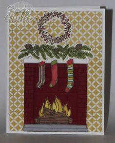 This is the card that brought me to You can't really see from the picture, but I popped the wall up with dimensionals so that the fir. Hand Made Greeting Cards, Making Greeting Cards, Stampin Up Christmas, Christmas Crafts, Christmas 2015, Winter Cards, Holiday Cards, Christmas Fireplace, Christmas Catalogs