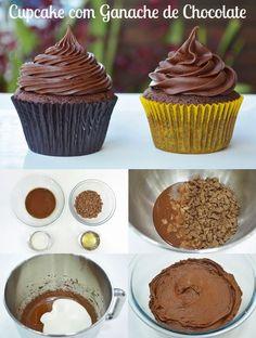 Delicioso Cupcake de chocolate com cobertura de ganache, Ingredientes: ½ xícara (chá) de óleo ½ xícara (chá) açúcar ½ colher (chá) de essência de baunilha 1 ovo ½ xícara (chá) de farinha de trigo ¼ xícara (chá) de chocolate em pó ½ colher (chá) de bicarbonato de sódio 1/3 xícara (chá) de iogurte natural apaixonado por doces, é a pedida perfeita. Fácil de fazer para quem está começando a fazer cupcakes.