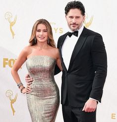 Sofia Vergara walks the red carpet in a custom #StJohnKnits dress with fiancé Joe Manganiello at the 67th Emmy Awards.