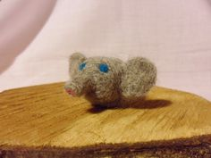 Needle Felted Elephant   miniature elephant figure  by feltindevon