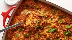 Traditional cabbage rolls are a delicious but time-consuming classic, so we updated them with a modern casserole makeover! Casserole Recipes, Tortilla Casserole, Meatball Casserole, Noodle Casserole, Chicken Casserole, Cabbage Roll Casserole, Dinner With Ground Beef, Cabbage Rolls, Ground Beef Recipes
