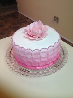 Made my own BDay cake this year LOL.  Very quick job.  MMF with my very first gumpaste peony done freehand (no cutters) Sept 2013