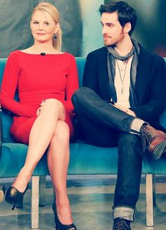 """idk what their ship name is, but here's Killian """"Hook"""" Jones (Colin O'Donoghue) and Emma Swan (Jennifer Morrison). << it's called captain swan Jennifer Morrison, Once Upon A Time, Pretty People, Beautiful People, Abc Tv Shows, Ouat Cast, Hook And Emma, The Way He Looks, Outlaw Queen"""