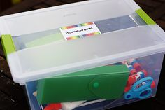 Homework box!  Every household with school-aged kids needs this