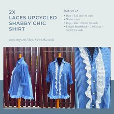 2X Laces UpCycled Shabby Chic Shirt Recycled Fabric Dress Free People Funky Patchwork Style Romantic Ruffles One-Of-A-Kind Eco Recycled Dress, Recycled Fabric, Denim Button Up, Button Up Shirts, Handmade Clothes, Dress First, Free People Dress, Ruffles, Shabby Chic