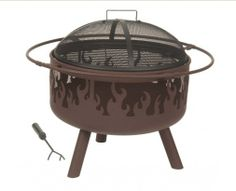 "Brown Steel Flame Fire Pit Size:  32"" Dioa. X 26"" High 23"" Dia. Fire Bowl 6 1/2"" Clearance"