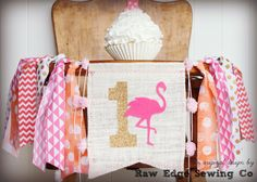 FLAMINGO Birthday Highchair High Chair Banner by RawEdgeSewingCo